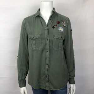 New American Eagle Military Button Down Shirt S